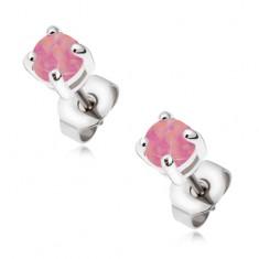 Stalowe kolczyki - wkręty z okrągłym różowym opalem