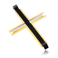 Zawieszka ze stali chirurgicznej - trzykolorowy krzyż z bezbarwnymi cyrkoniami