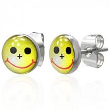 Małe okrągłe kolczyki - żółty uśmiech