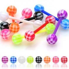 Akrylowy kolczyk do języka, kolorowe kuleczki z motywem szachownicy