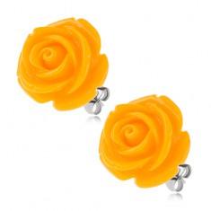 Stalowe kolczyki, żółty kwiat róży z żywicy, zapięcie na wkręty, 20 mm