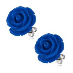 Stalowe kolczyki, ciemnoniebieski kwiat róży, zapięcie na wkręty, 20 mm
