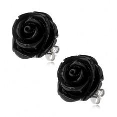 Stalowe kolczyki, czarny kwiat róży z żywicy, zapięcie na wkręty, 20 mm