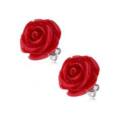Stalowe kolczyki wkręty, lśniący czerwony kwiat róży z żywicy, 14 mm