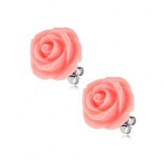 Kolczyki ze stali, kwiat róży, różowy kolor, zapięcie na wkręty, 14 mm