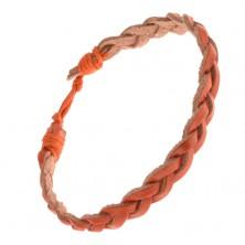 Pomarańczowa regulowana bransoletka, zaplatane paski skóry