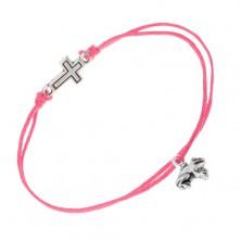 Różowa bransoletka ze sznurków, regulowana, żaba, dwustronny krzyżyk