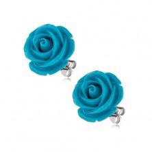 Kolczyki wkręty ze stali chirurgicznej, niebieska rozwinięta róża, 14 mm