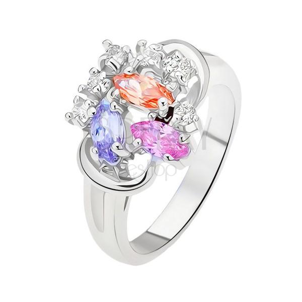 Pierścionek - rozdzielone ramiona, kolorowe cyrkonie w kształcie ziarenek, przezroczyste kamyczki