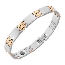 Stalowa bransoletka na rękę, matowe ogniwa, lśniące łączniki H w złotym kolorze