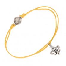 Żółta regulowana sznurkowa bransoletka, Fleur de Lis, okrągła ozdobna wstawka