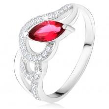 Srebrny pierścionek 925, cyrkoniowe i gładkie fale, czerwony kamień ziarenko