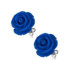 Kolczyki ze stali chirurgicznej, wkręty, ciemnoniebieska róża z żywicy, 14 mm