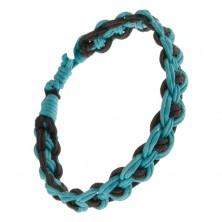 Pleciona bransoletka, turkusowe i czarne sznurki, regulowana długość