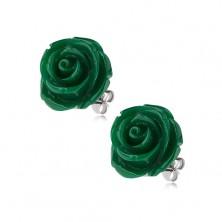 Náušnice z ocele, zelená farba, kvet ruže, puzetové zapínanie, 14 mm