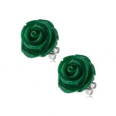 Kolczyki ze stali, zielony kolor, kwiat róży, zapięcie na wkręty, 14 mm