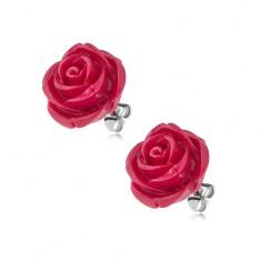 Kolczyki wkręty ze stali chirurgicznej, bordowy kwiat róży z żywicy, 14 mm