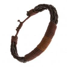 Náramok na ruku - čokoládové pletence ovité hnedými motúzikmi
