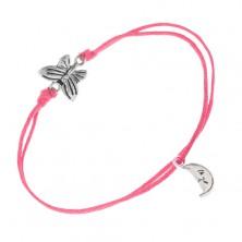 Šnúrkový náramok ružovej farby, motýľ, mesiačik s tvárou