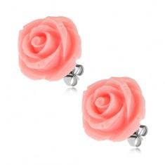 Stalowe kolczyki wkręty, róża z żywicy, różowy kolor, 20 mm