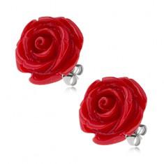 Kolczyki ze stali chirurgicznej, czerwony kwiat róży z żywicy, 20 mm