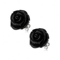 Kolczyki ze stali, czarny kolor, kwiat róży, zapięcie na wkręty, 14 mm