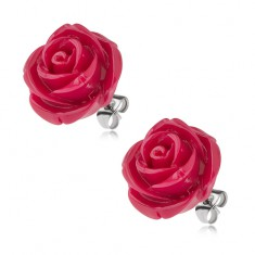 Stalowe kolczyki wkręty, róża z żywicy, bordowy kolor, 20 mm