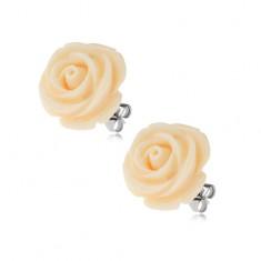 Kolczyki ze stali, kremowy kolor, kwiat róży, zapięcie na wkręty, 14 mm
