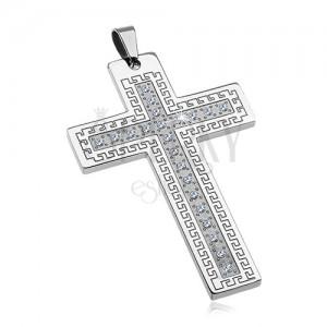 Zawieszka ze stali chirurgicznej - duży krzyż z cyrkoniami i greckim kluczem