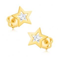 Kolczyki z żółtego 9K złota - błyszczący kontur gwiazdki, przeźroczysta cyrkonia