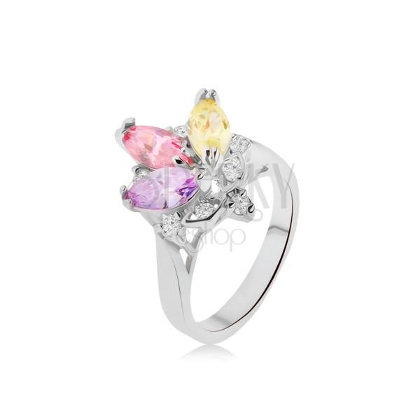 Błyszczący pierścionek- kolorowe kamyczki w oprawce, przeźroczyste cyrkonie, korona
