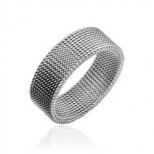 Stalowy pierścionek srebrnego koloru z plecionym drucianym wzorem, 8 mm