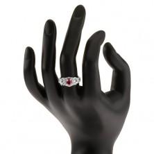 Srebrny pierścionek 925, owalna czerwona cyrkonia z przeźroczystym konturem, ozdobna linia