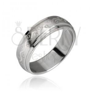 Stalowy pierścionek motyw fala z kropkami