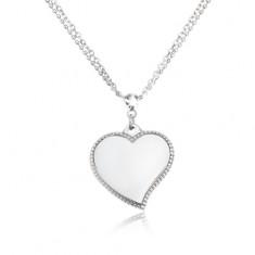Naszyjnik ze stali chirurgicznej - podwójny łańcuszek, lśniące serce, srebrny kolor