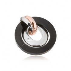 Zawieszka ze stali - kolor srebrny, miedziany i czarny, okręgi, owal z cyrkonią