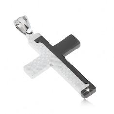 Stalowy wisiorek krzyż, czarny i srebrny kolor, motyw kostek, paseczki, cyrkonia