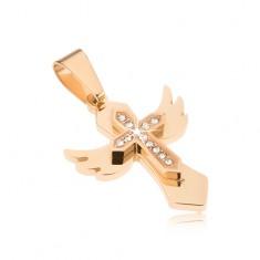 Stalowa zawieszka- kolor złoty, krzyż ze skrzydłami, mały krzyżyk z cyrkoniami