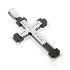 Stalowa zawieszka- krzyż w kolorze srebrnym z przeźroczystymi dekoracjami i cyrkoniami