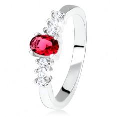 Srebrny pierścionek zaręczynowy 925, owalny czerwony kamyczek, przeźroczyste cyrkonie