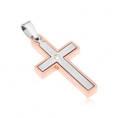 Zawieszka ze stali, krzyżyk w kolorach srebrnym i miedzianym, przeźroczysta cyrkonia