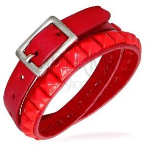 Podwójna czerwona bransoletka ze skóry, nabijana