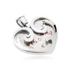 Stalowy wisiorek, serce z ornamentami w srebrnym kolorze, różowe cyrkonie