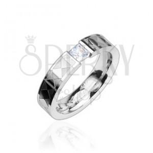 Stalowy pierścionek - przeźroczysta cyrkonia, wzory