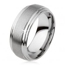 Gładki wolframowy pierścionek, lekko wypukły, matowa powierzchnia, srebrny kolor