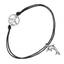 Sznurkowa bransoletka czarnego koloru, dwie zawieszki - symbol pokoju, kontury delfina