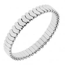 Lśniąca stalowa bransoletka srebrnego koloru, elastyczna, ogniwa w kształcie strzałek