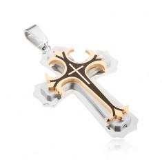 Stalowy wisiorek - srebrny, złoty i czarny kolor, dekoracyjne krzyże