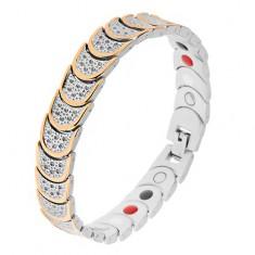 Stalowa bransoletka w srebrnym i złotym kolorze, półokręgi, kuleczki, magnesy