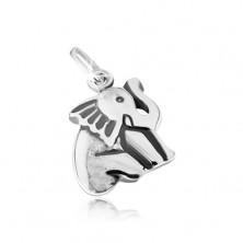 Siedzący słoń, patynowane nacięcia, srebro 925